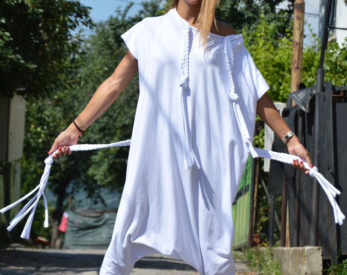 0a84651e7a4 White Cotton Jumpsuit, Women Harem Pants, Summer One piece Romper,  Extravagant Jumpsuit,