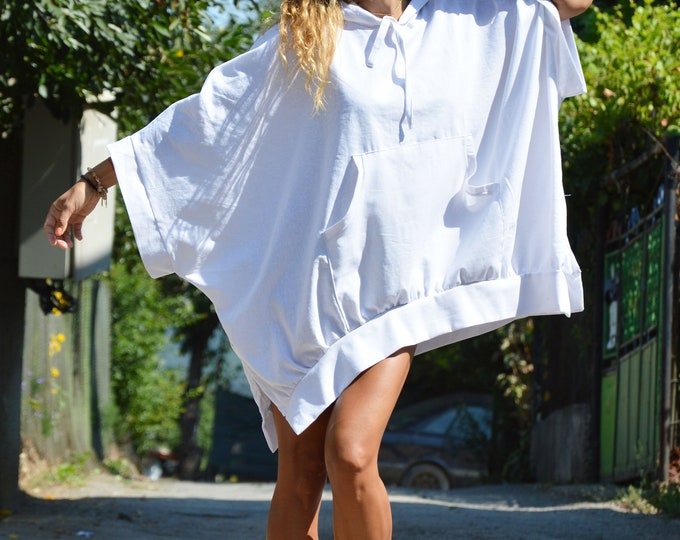 Asymmetric Hooded Sweater, White Linen Blouse, Loose Tunic Top, Handmade Hoodie, Maxi Tunic Top by SSDfashion