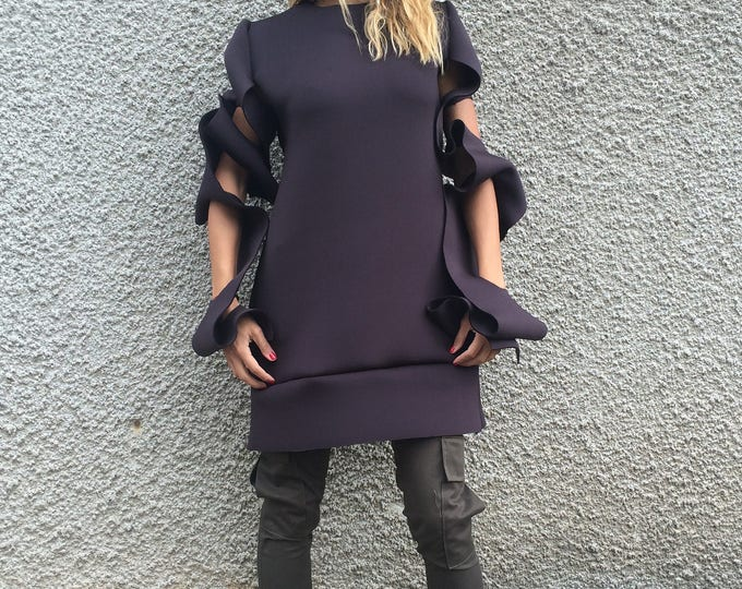 Extravagant Neoprene Tunic Top, Asymmetric Long Sleeves, Brown Thumb Holes, Women's Tunic by SSDfashion