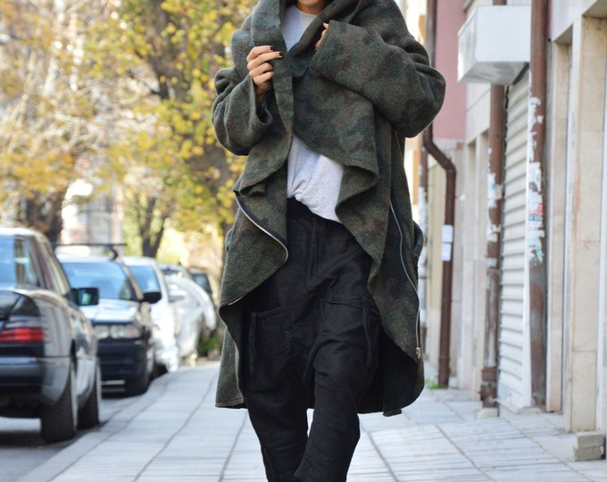 Extravagant Military Warm Asymmetric Coat, Long Sleeves Winter Coat, Women Clothing, Cashmere Zipper Coat by SSDfashion
