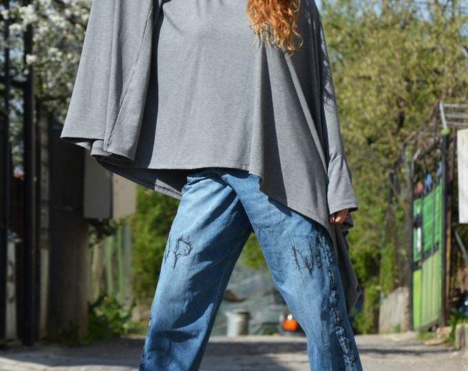 Asymmetric Gray Cotton Loose Shirt Womens, Maxi Tunic, Plus Size Clothing, Casual Tunic, Oversized Shirt by SSDfashion