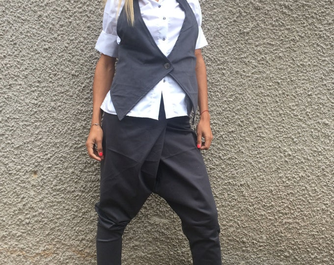 Women's Sleeveless Vest, Extravagant Vest, Cotton Buttons Vest, Gray Vest, Cotton Vest, Summer Vest, Elegant Vest by SSDfashion