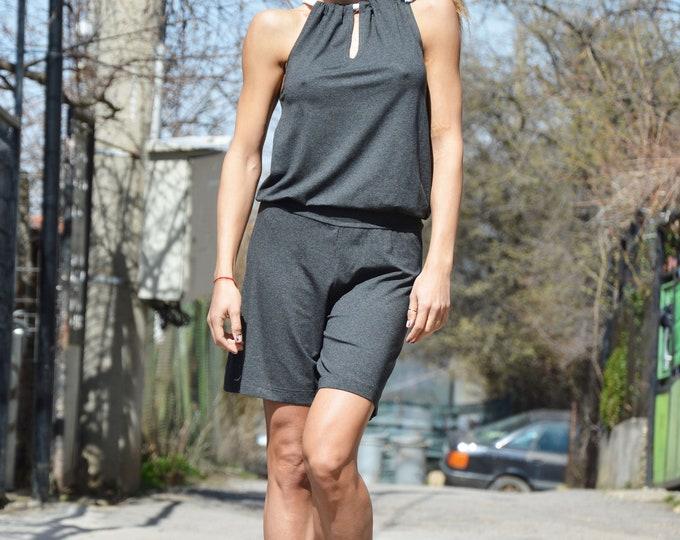Jumpsuit, Dark Grey Short Jumpsuit, Jumpsuit women, Sleeveless Overall Romper, Elegant Jumpsuit, Loose Union Suit by SSDfashion