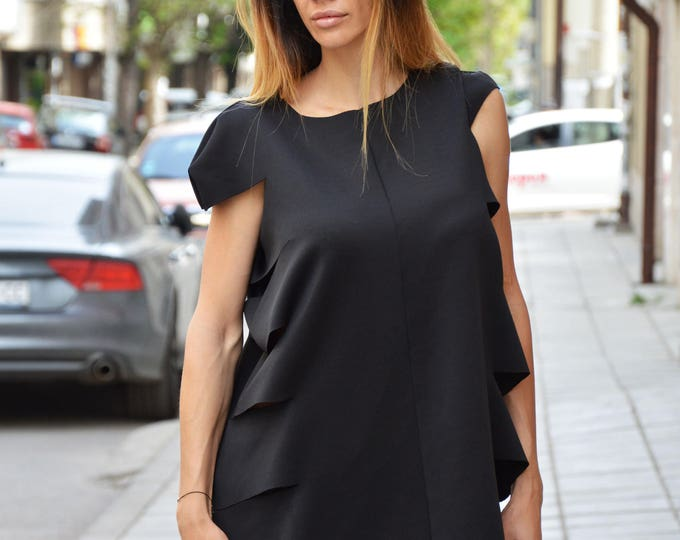 Black Neoprene Tunic, Loose Long Top, Sleeveless Tunic Top, Asymmetric Casual Tunic, Elegant Office Dress by SSDfashion