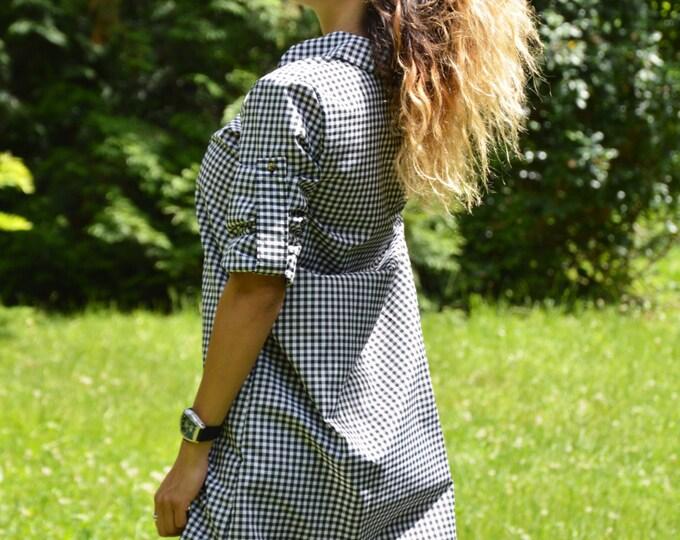 Women Shepherd's Plaid Cotton Shirt, Long Extravagant Shirt, Maxi Elegant Shirt, Oversize Sexy Top by SSDfashion