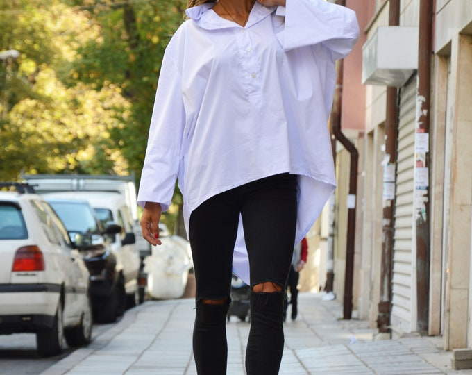 Asymmetric White Cotton Shirt, Oversize Extravagant Shirt, Casual Loose Shirt- Plus Size Available by SSDfashion
