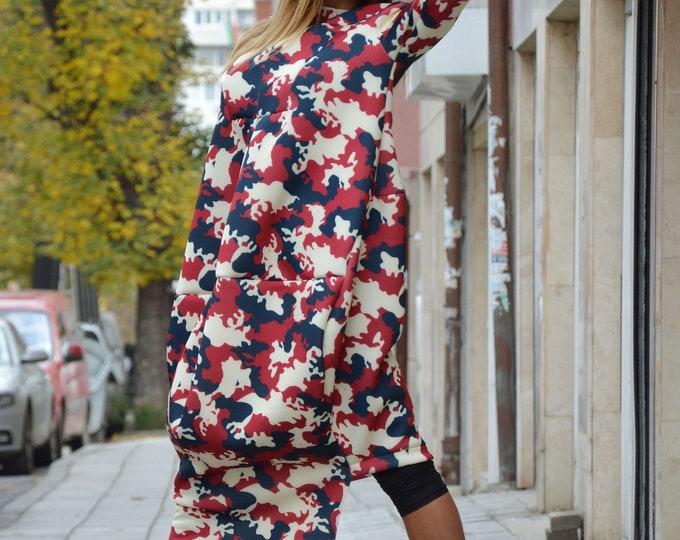 Maxi Military Dress, Camouflage Neoprene Dress, Fashion Style,Loose Tunic, Extravagant Dress, Autumn Dress, Plus Size Clothing by SSDfashion