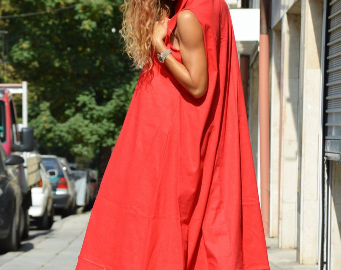 Red Sleeveless Kaftan Dress, Summer Linen Maxi Dress, Plus Size Dress, Extravagant Asymmetrical Tunic by SSDfashion