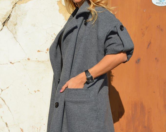 Autumn Women Coat, Maxi Casual Coat, Trench Women Coat, Cashmere Coat, Women Dark Grey Coat by SSDfashion