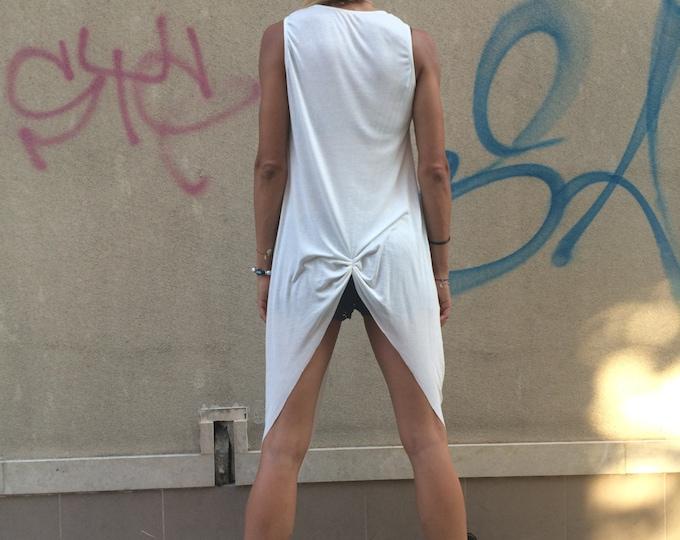 White Long Top, Asymmetrical Sleeveless Vest, Fashion Maxi Dress, Extravagant Tunic Top, Plus Size Vest by SSDfashion