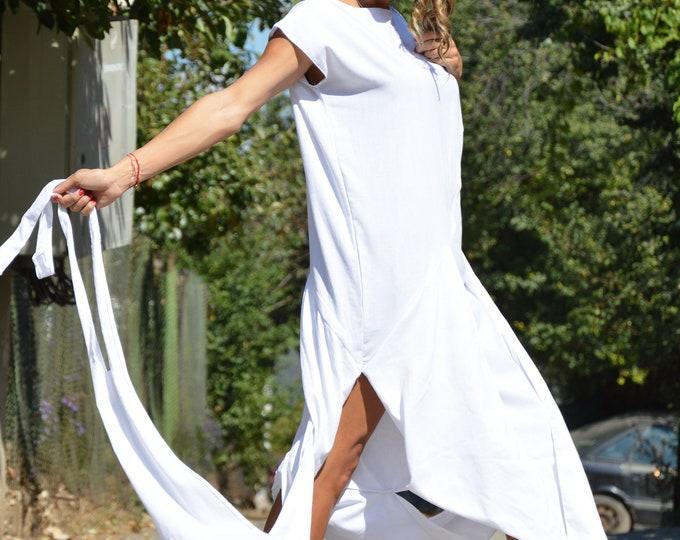 White Asymmetrical Linen Dress, Extravagant Sleeveless Maxi Dress, Casual Kaftan Plus Size Tunic by SSDfashion