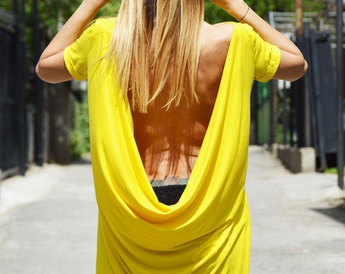 Asymmetrical Open Back Top, Loose Tunic Top, Sexy Casual Long Top, Oversize Sleeveless Casual Tunics, Women's Clothing by SSDfashion