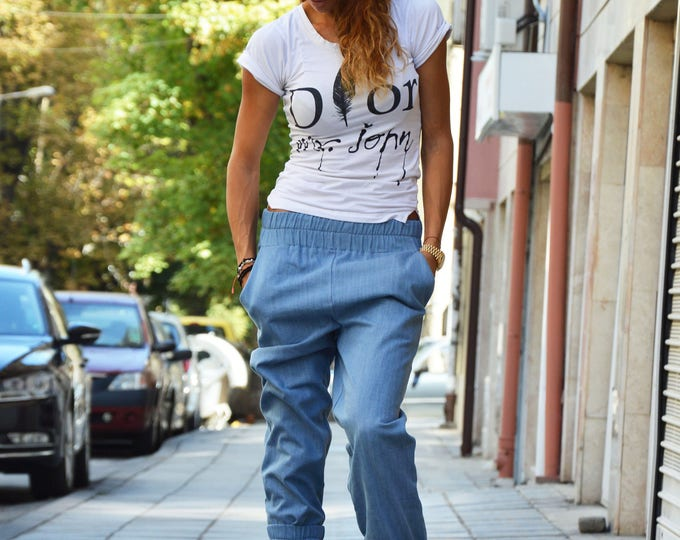 Drop Crotch Light Blue Denim Pants, Extravagant Trousers, Fold Over Pants, Casual Harem Pants with pockets by SSDfashion