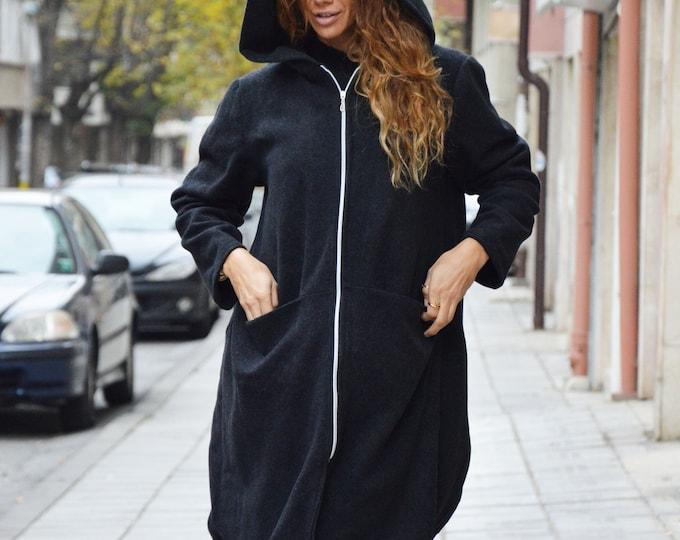 Long Sleeve Wool Coat, Winter Dark Gray Zipper Hooded, Asymmetric Loose  Extravagant Coat by SSDfashion