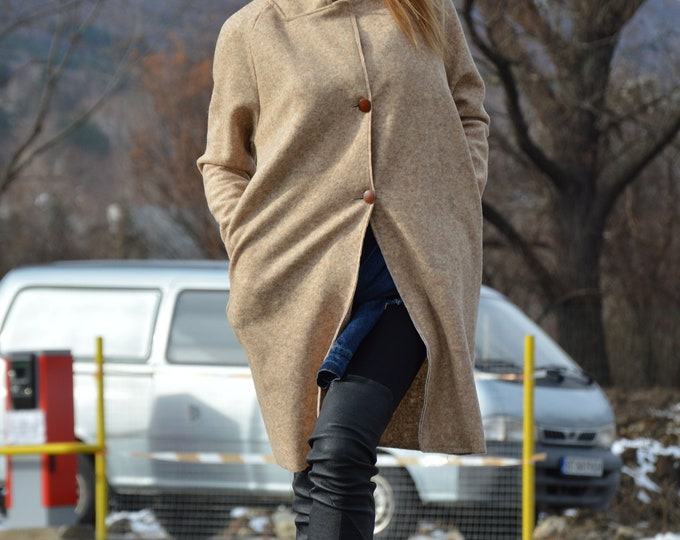 Wool Beige Coat, Winter Warm Coat, Woman's Coat, Extravagant Coat, Maxi Coat, Long Sleeves Jacket, Plus Size Loose fit Coat by SSDfashion