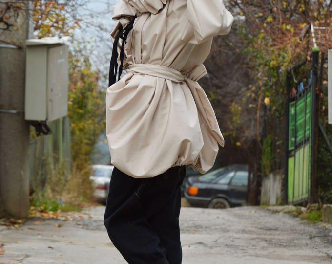 Asymmetrical Coat, Extravagant Ivory Shirt, Plus Size Sleeves Jacket, Fashion Coat, Beige Coat, Autumn Jacket, Ivory Coat by SSDfashion