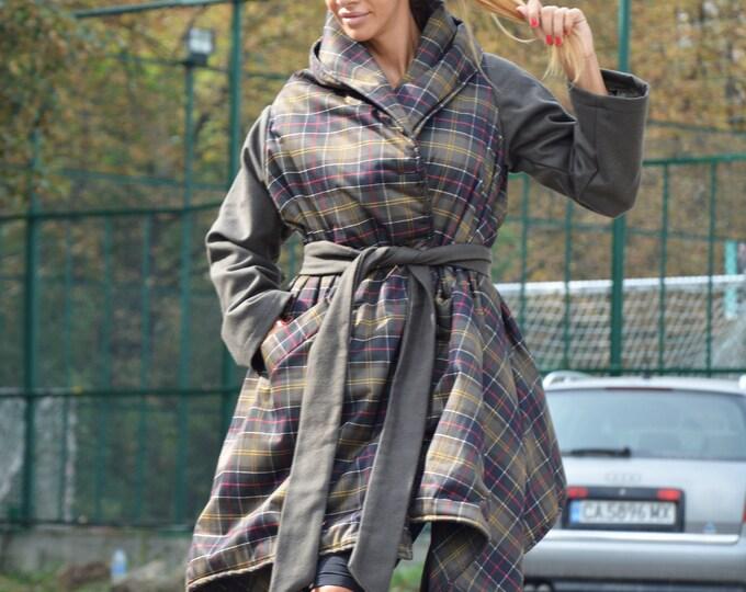 Military Green Shepherd Plaid Coat, Loose Waterproof Jacket, Women Coat, Winter Coat, Loose Coat with Side Pockets by SSDfashion