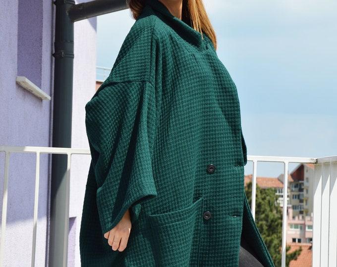 Dark Green Asymmetric Wool Coat, Large Pocket Jacket for women, Extravagant Loose Coat by SSDfashion