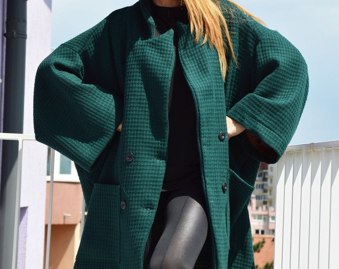 Dark Green Asymmetric Wool Coat, Large Pocket Jacket for women, Extravagant Loose Coat by SSDfashion
