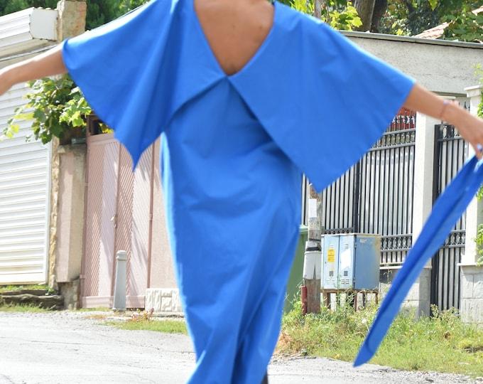 Loose Long Ruffle Turkish Blue Dress, Extravagant Cotton Dress, Maxi Kaftan Dress with belt by SSDfashion