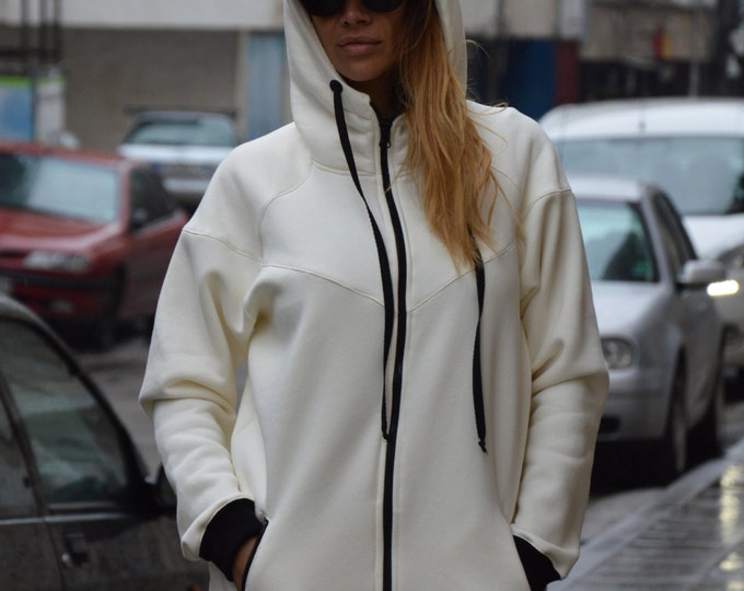 White Hooded Sweatshirt, Front Pocket Blouse, Thumb Holes Lined Warm, Zipper Cotton Top, Extravagant Maxi Coat by SSDfashion