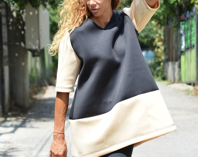 Neoprene V Neck Casual Top, 3/4 Extravagant Tunic, Fashion Oversized Tunic by SSDfashion