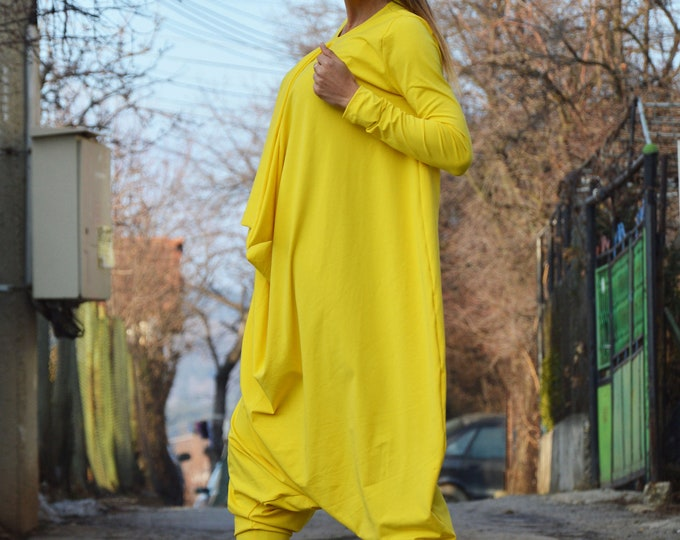 Overalls Jumpsuit, Yellow Jumpsuit With Long Zipper, Drop Crotch Harem Pants, Maxi Extravagant Jumpsuit, Long Sleeves Jumpsuit by SSDfashion