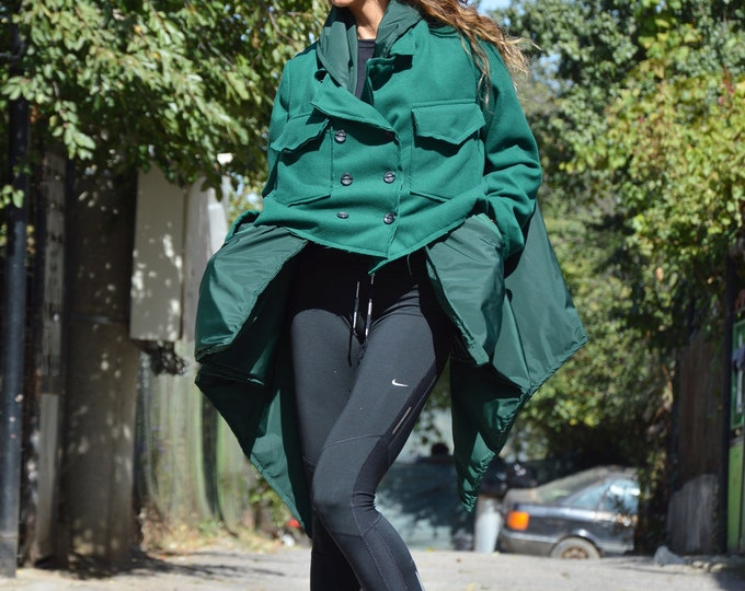 Winter Olive Green Asymmetric Coat, Extravagant Women Coat with Side Pockets, Extra Long Sleeves Warm Coat by SSDfashion