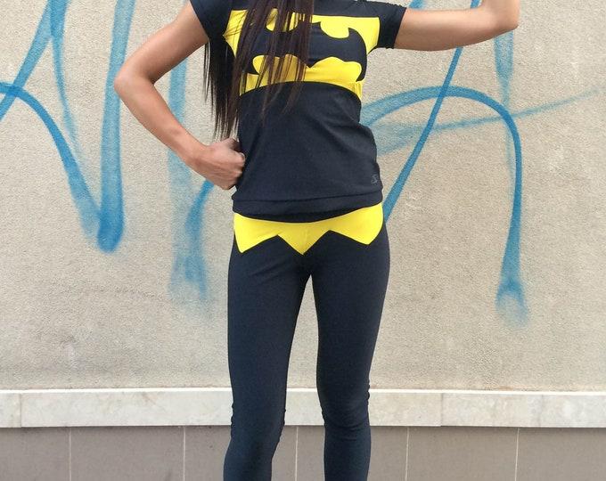 Workout Batman T-shirt, Women Tight Tee, Ultra Soft Light Casual Sport Wear, Design Yoga Top by SSDfashion