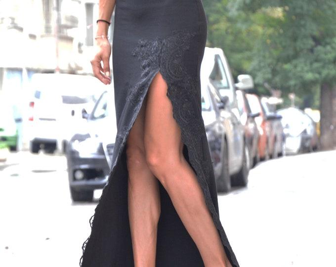 Black Maxi Dress, Evening Dress with Lace, Asymmetric Long Dress, Off Shoulder Sexy Dress, Maxi Dress, Elegant Dress by SSDfashion
