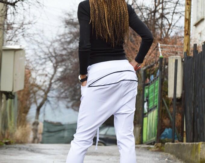 Casual White Harem Pants, Extravagant Cotton zipper Pants, Drop Crotch leggings Pants, Loose Pants by SSDfashion