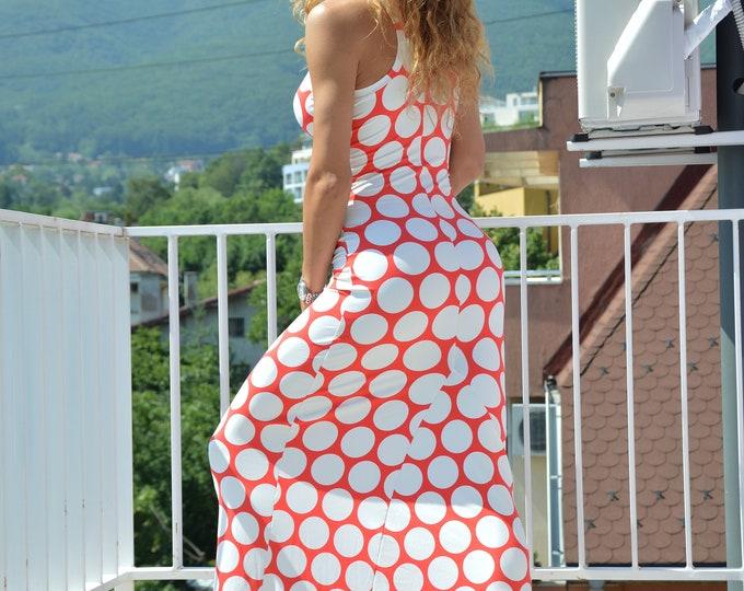 Polka Dots Elegant Dress, Evening Dress, Summer Long Dress, Women Dress, Plus Size Dress, Long women dress, Sexy Dress by SSDfashion