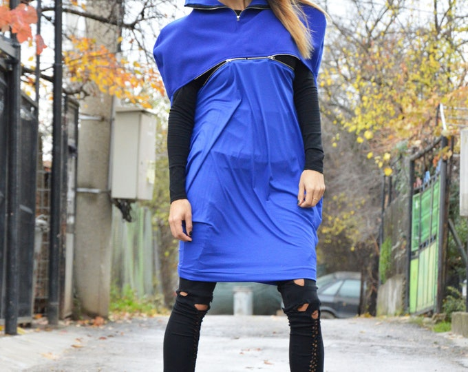Casual Blue Wool Maxi Tunic With Zipper, Extravagant Dress, Comfortable Woman Loose Top, Plus Size Tunic by SSDfashion