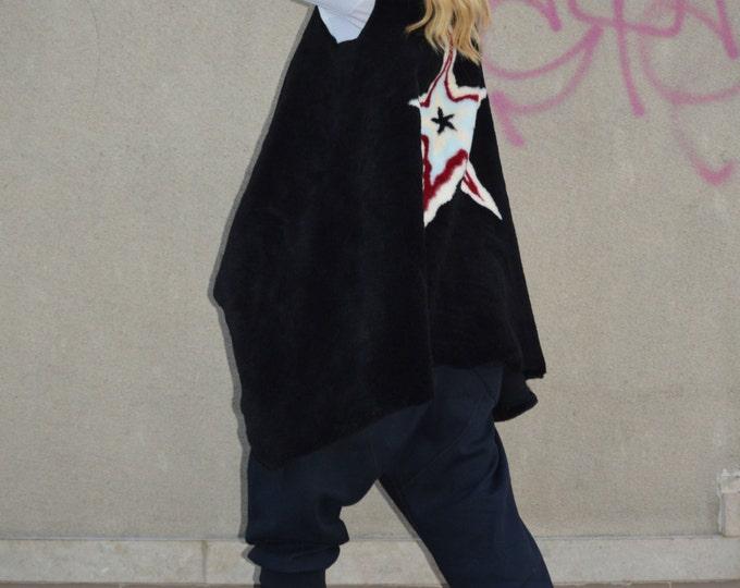 Asymmetric Vest With Star, Wool Sleeveless Coat, Loose Warm Vest, Comfortable Vest, Extravagant Vest, Winter Vest by SSDfashion