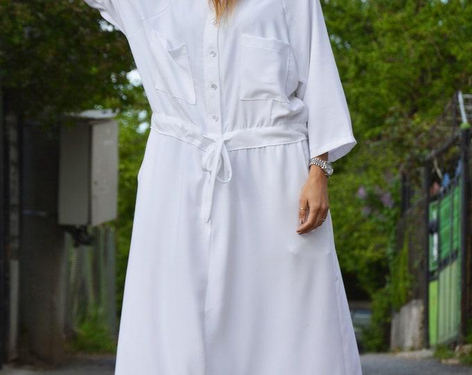 Oversize White Long Dress, White Dress, Women Dress, Plus Size Dress, Loose Kaftan, Maxi Dress,Comfortable Dress,Daywear Dress by SSDfashion