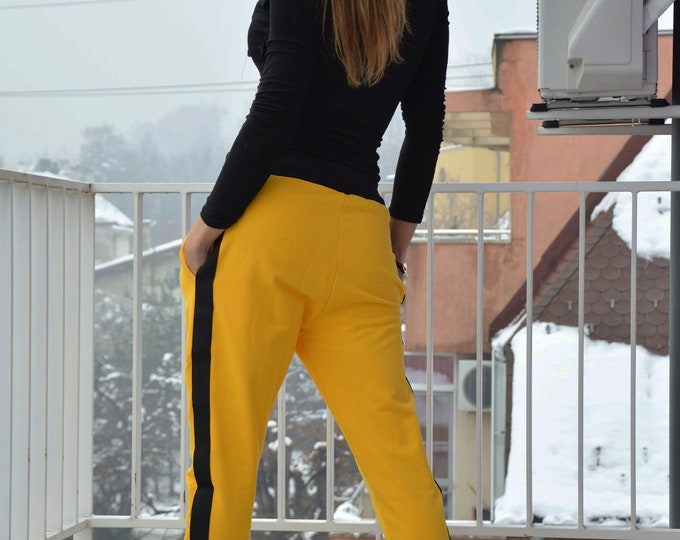 Winter Yellow Pants, Loose Pants, Capris Pants, Handmade Drop Crotch Pants, Maxi Pants, Extravagant Pants, Casual Pants by SSDfashion