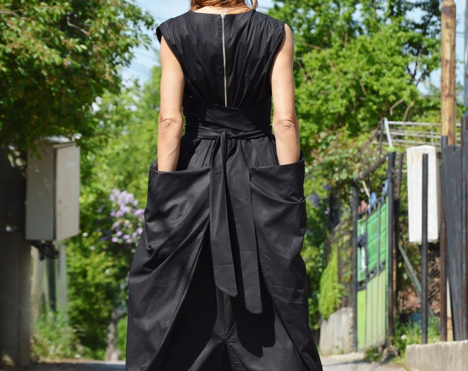 Black Maxi Dress, Cotton Dress, Plus Size Dress, Sleeveless Zipper Dress, Loose Long Dress, Summer Kaftan by SSDfashion