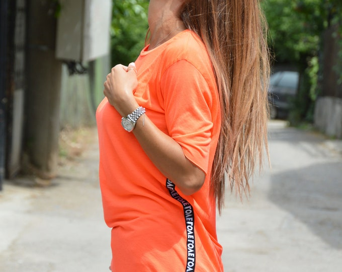 Street Tee with Strip Love, Cotton Tee, Maxi Oversize T-shirt, Casual Top, Loose Tshirt, Summer Handmade Blouse, Top by SSDfashion