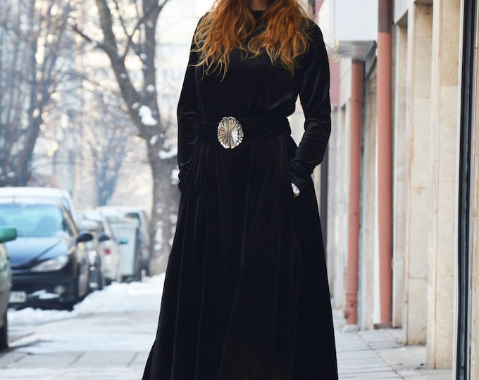 Maxi Velvet Dress with belt, Plus Size Black Long Dress, Woman Drape Stage Kaftan, Extravagant Asymmetric Dress by SSDfashion