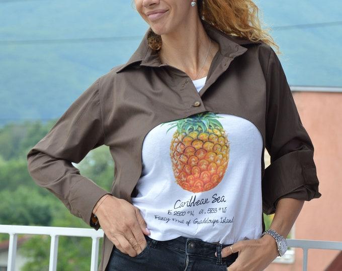 Brown Short Shirt, Loose Shirt, Soft Cotton Oversize Shirt, Handmade Top, Casual Shirt,Office Shirt,Summer Shirt,Plus Size Top by SSDfashion