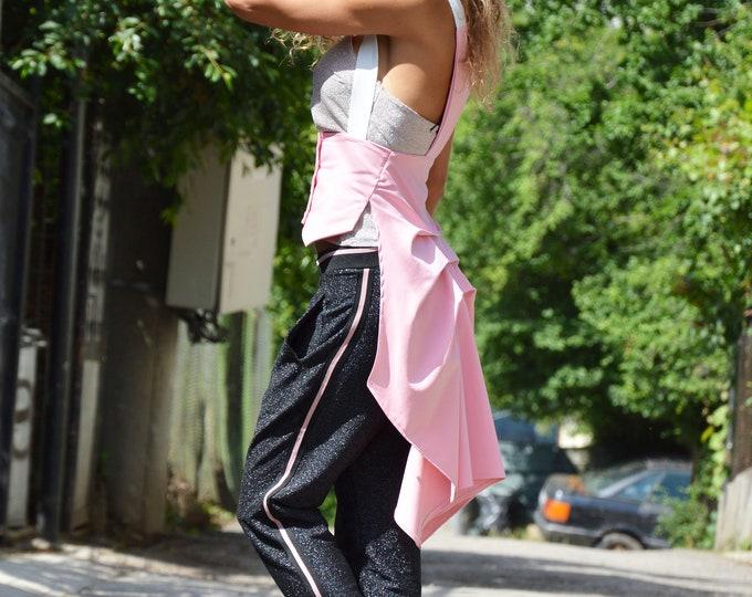 Pink Extravagant Top, Long Vest, Amazing Trench Coat, Asymmetrical Fashion Vest, Elegant Stripes Vest, Womens Maxi Vest by SSDfashion