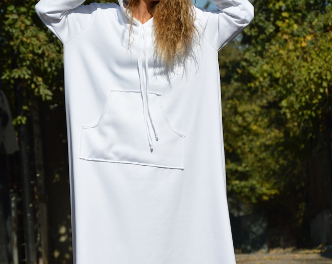 White Cotton Dress, Hooded Dress, Autumn Winter Maxi Dress, Outside Pockets Extravagant Dress, Maxi Dress by SSDfashion