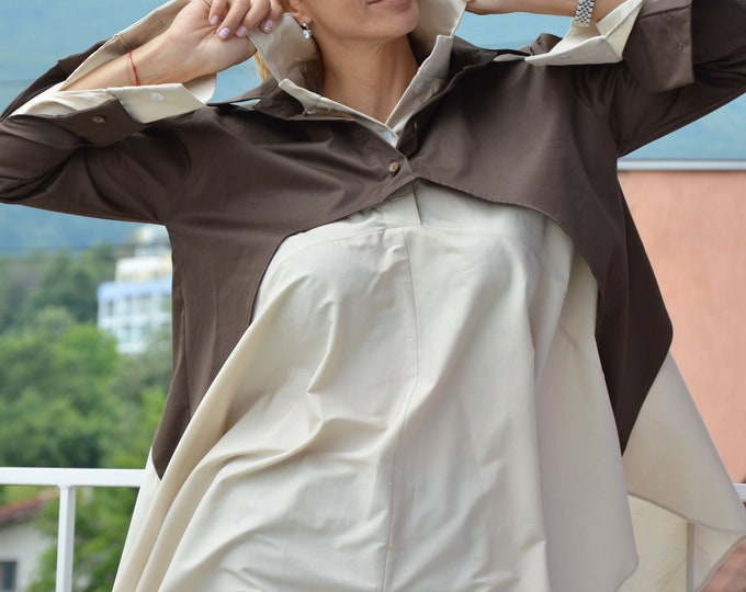 Maxi Loose Shirt, Soft Cotton two Shirt, Brown Plus Size Top, Casual Beige Shirt, Office Shirt, Everyday Shirt, Summer Shirt by SSDfashion
