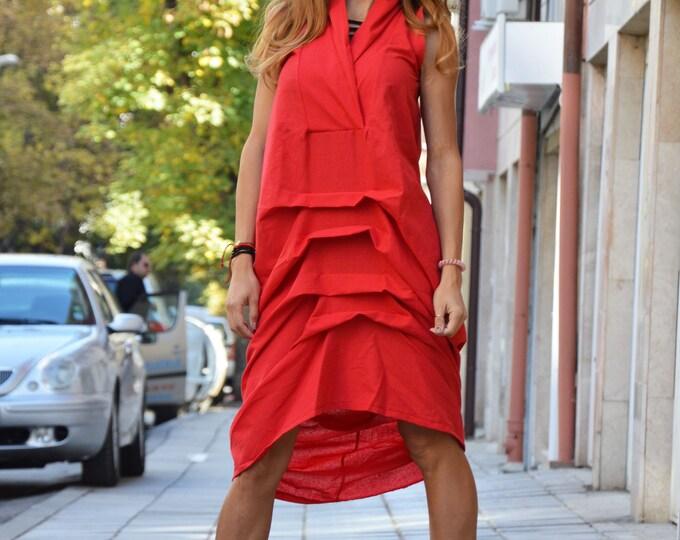 Red Linen Long Dress, Daywear Extravagant Loose Dress, Casual Maxi Dress, Sleeveless Kaftan by SSDfashion