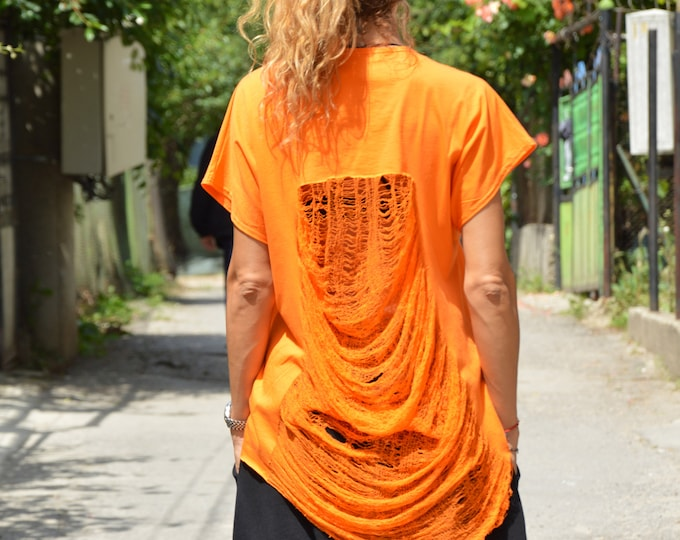 Extravagant Orange Drape Top, Urban Style Plus Size T-shirt, Summer Casual Soft Top by SSDfashion
