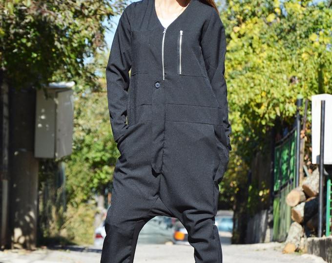 Overalls Jumpsuit, Black Jumpsuit, Loose Zippers Jumpsuit with Side Pockets, Women Drop Crotch Harem Pants by SSDfashion