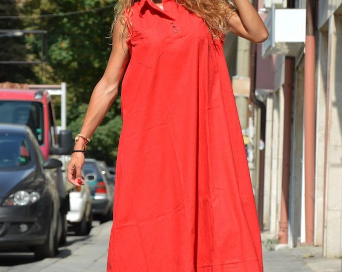 Extravagant Red Kaftan Dress, Summer Dress, Asymmetrical Long Tunic, Loose Dress, Linen Sleeveless Dress, Plus Size Dress by SSDfashion