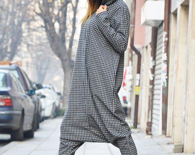 Women Shepherd's Plaid Jumpsuit, Hooded party Outfits for Women, Drop Crotch Zipper Jumpsuit, Union Suit by SSDfashion
