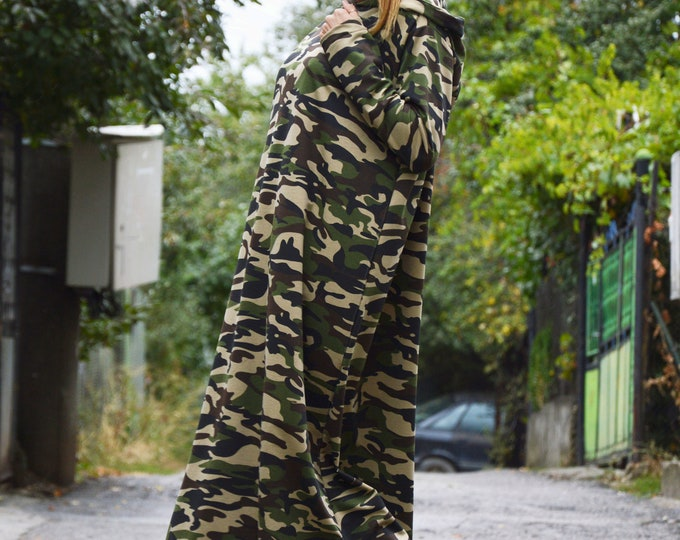 Maxi Camouflage Dress, Plus Size Dress, Hooded Kaftan Dress, Oversize Casual Dress, Extravagant Long Dress by SSDfashion