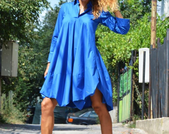 Summer Shirt, Loose Turkish Blue Long Shirt, Kaftan Dress, Party Dress, Maxi Kaftan, Asymmetric Shirt, Women Plus Size Tunic by SSDfashion